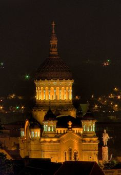 Cluj Orthodox Cathedral (Night), in Romania. Famous Castles, Religious Architecture, Place Of Worship, Bucharest, Kirchen, Eastern Europe, European Travel, Places To See, Taj Mahal