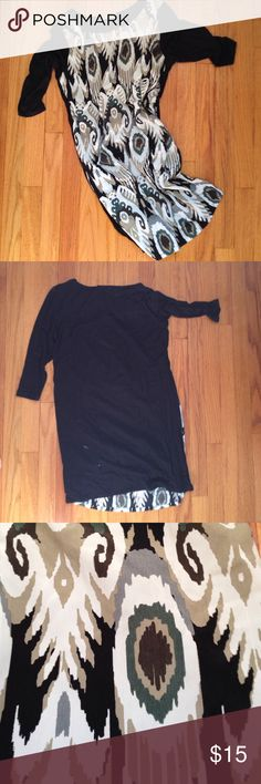 Printed shirt dress Cute casual shift dress. Super comfortable black base with patterned front. So flattering. Looks great with black tights.  3/4 sleeve. Dresses