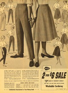 Stylish separates from the 1962 Montgomery Wards Winter Catalog. #vintage #1960s #pants #skits