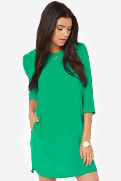 Long sleeve dark green shift dress