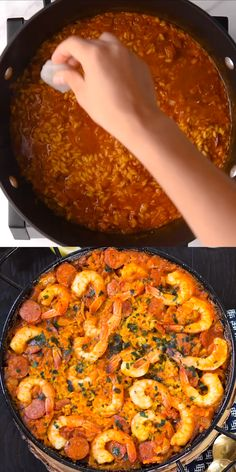 Spanish Rice Dish Paella Recipe This simple Shrimp and Chorizo Paella is easy to make has classic paella ingredients with all Spanish flavors Feed and impress a crowd with this paella recipe paella tapas Authentic paella easy paella seafood paella recipe Shrimp Paella Recipe, Shrimp Recipes, Fish Recipes, Mexican Food Recipes, Spanish Chorizo Recipes, Spanish Paella Recipe, Spanish Seafood Paella, Spanish Rice Recipe, Antipasto