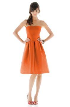 Alfred Sung D446 Bridesmaid Dress | Weddington Way: orange with green sash; green with orange sash?