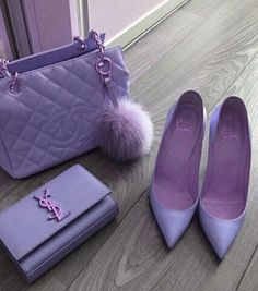 Lavender Chanel purse, YSL purse, and Louboutin heels - handbags, Fashion Bags, Fashion Models, Fashion Shoes, Fashion Handbags, Style Fashion, Luxury Purses, Luxury Bags, Ysl Purse, Clutch Bag