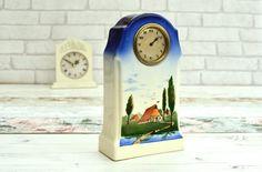 Vintage Ceramic Clock Vintage Mantel Clock Vintage by FillyGumbo