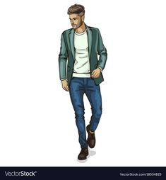 Man model vector image on VectorStock Fashion Model Sketch, Fashion Design Sketches, Mens Illustration, Teenage Boy Fashion, Croquis Fashion, Dress Design Drawing, Serin, Man Sketch, Fashion Illustration Dresses