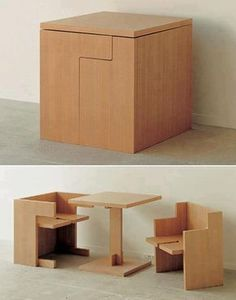 Yesterday we showed you a fold up desk.    Here is a table for two that also essentially folds in on itself.    In my humble opinion this is not as sleek as the wall mounted one, but it is still a good way to space save in a small area.    What do you think of this one?