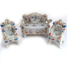 Vintage Porcelain Dollhouse Furniture, Occupied Japan, Sofa, Two Chairs, China…