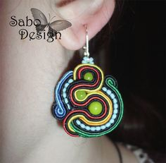 CUZCO   soutache earrings handmade embroidered in by SaboDesign.