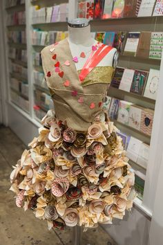 Beautiful Valentine's Day paper dress window display at Seaside Papery