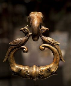 Brass Elephant and Peacock Door knocker