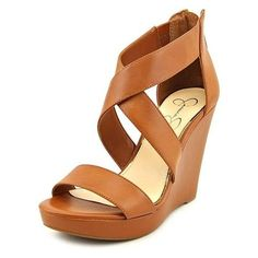 Jessica Simpson Jinxxi Women Wedge Sandals ($51) ❤ liked on Polyvore featuring shoes, sandals, tan, tan wedge shoes, tan sandals, synthetic shoes, faux leather shoes and vegan shoes
