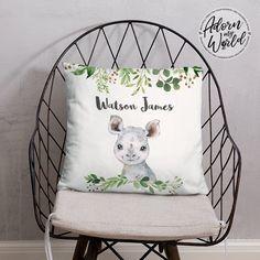 Personalized Rhino Pillow, Personalised Name Pillow, Rhino Name Pillow, Rhino Nursery Decor, Rhino Gifts, Rhino Baby Shower Gift, Baby Gifts