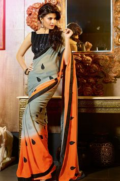 Zohraa.com presenting Grey and Orange Faux Georgette #Saree with Patch Work and Lace Work Order Now@ http://zohraa.com/grey-faux-georgette-saree-kasatenvy10109.html Rs. 3,549.