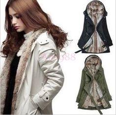 Winter Demountable Fur Lining Womens Parka Fleece Jacket Coat Windbreaker
