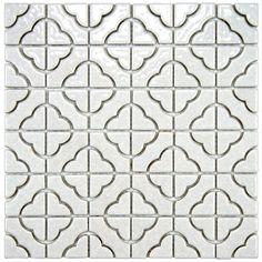 SomerTile Castle White Porcelain Mosaic Tile (Pack of 10) | Overstock.com
