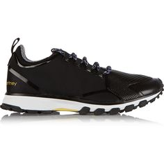 Adidas by Stella McCartney Adizero XT sneakers ($180) ❤ liked on Polyvore featuring shoes, sneakers, black, lace up shoes, black sneakers, lacing sneakers, adidas shoes and black lace up shoes