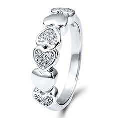 BERRICLE Rhodium Plated Sterling Silver Cubic Zirconia CZ Heart Fashion Right Hand Ring Size 8 *** Details can be found by clicking on the image. (This is an affiliate link) Ring Stores, Jewelry Stores, Heart Promise Rings, Heart Ring, Right Hand Rings, Cubic Zirconia Rings, Statement Rings, Cocktail Rings, Fashion Rings