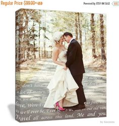 Cyber Monday Sale Holiday Gift Ideas for Couple First Dance Lyrics/ Custom Canvas / Your Wedding Photo with your Lyrics/ Photo Gift ideas/ P by GeezeesCustomCanvas on Etsy https://www.etsy.com/listing/207001361/cyber-monday-sale-holiday-gift-ideas-for