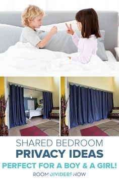 Shared bedroom boy and girl divider products from Room Dividers Now are easy to install.