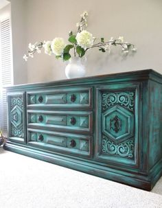 Vintage Hand Painted French Country Cottage Chic Shabby Distressed Weathered Turquoise / Teal Blue Dresser / Console Cabinet - Home Decoration Ideas Refurbished Furniture, Repurposed Furniture, Furniture Makeover, Vintage Furniture, Painted Furniture, Chalkboard Paint Furniture, Turquoise Furniture, Furniture Projects, Home Furniture