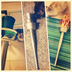 Diy Olympic Torch - dollar tree baseball bat, cool whip container, solo cup, wine cup, spray paint, hot glue, red celafain gift bag, construction paper.  So easy!