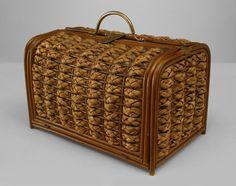 English Victorian accessories box rattan