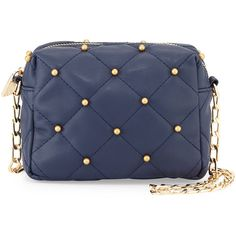 Neiman Marcus Beaded Quilted Mini Crossbody Bag ($32) ❤ liked on Polyvore featuring bags, handbags, shoulder bags, crossbody purse, crossbody handbags, blue shoulder bag, chain shoulder bag and mini purse
