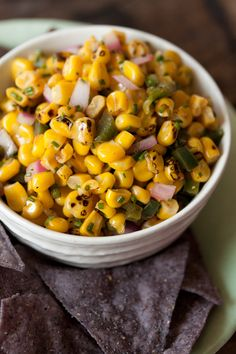 Spicy Corn Salsa 1 poblano pepper 2 tsp olive oil 3 cups corn (about cobs) 1 jalapeno, finely chopped small red onion, finely chopped 2 tbsp fresh chives, chopped 1 lime, juiced sea salt and pepper to taste Corn Recipes, Mexican Food Recipes, Great Recipes, Favorite Recipes, Recipies, Mexican Meals, Party Recipes, Summer Recipes, Recipe Ideas
