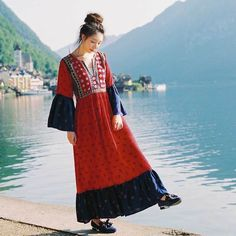 DEAR栗森林系重磅民族风印花刺绣碎花vintage长裙连衣裙