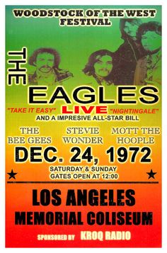 "Eagles Concert Poster 1972 Los Angeles Coliseum  • 100% Mint unused condition • Well discounted price + we combine shipping • Click on image for awesome view • Poster is 12"" x 18"" • Semi-Gloss Finish • Great Music Collectible - superb copy of original • Usually ships within 72 hours or less with > tracking. • Satisfaction guaranteed or your money back. Sportsworldwest.com"