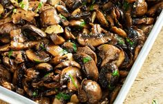 Baked garlic and parsley mushrooms—This is comfort food made for dark, chilly days when you want to warm your kitchen with the oven on. The earthiness of mushrooms and garlic is balanced by the bri…