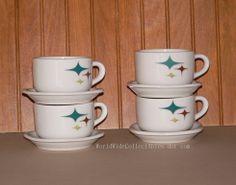 Cups Saucers Mid Century Jubilee Syracuse Trend Atomic Star Light Syracuse China