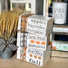 Fall Decor / Stamped Books / Fall decorations / Farmhouse decor / Tiered tray decor / Hello f. Fall Decor / Stamped Books / Fall decorations / Farmhouse decor / Tiered tray decor / Hello fall / P, Fall Crafts, Holiday Crafts, Fall Craft Fairs, Summer Crafts, Pumpkin Books, Adornos Halloween, Fallen Book, Painted Books, Hand Painted