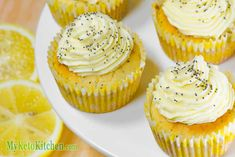 Ketogenic Lemon Poppy Seed Cupcakes