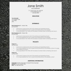 Basic ResumeCv Template  Modern Resume And Cover Letter  Word