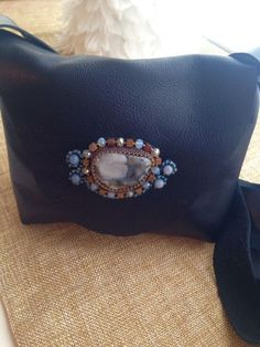 Italian Lamb Cross-Body Purse with Blue and Brown Toned Prairie Agate Hand-Beaded Medallion