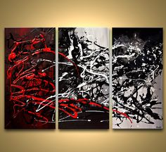 red black white textured abstract painting
