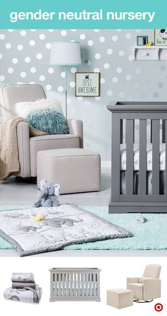 Welcome your baby to the sweetest nursery ever! Filled with soft grays, blues, whites and fun metallic silver touches, this is the perfect choice for a gender neutral nursery. This 3-piece safari friends crib bedding set includes a quilt, fitted sheet and bedskirt. A convertible crib grows with your little one, transitioning from a crib to a toddler bed to a full-sized bed. Add a cozy glider and ottoman for late-night feedings or those snuggly moments. Perfect for your Target Baby Registry.