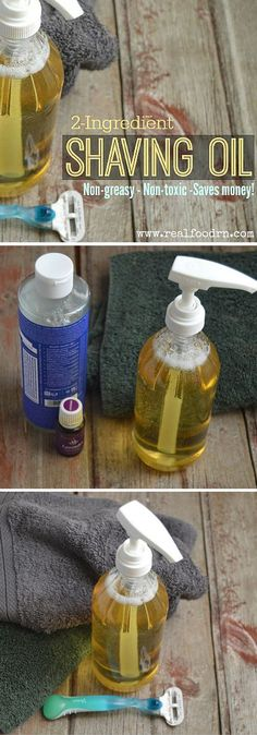 2-ingredient Non-toxic Shaving Oil. Non-toxic shaving oil that takes seconds to make and is my new favorite shaving oil! It gives you a great shave (for men and women!) and also keeps your skin super soft. Way better than those chemical filled shaving creams from a can! realfoodrn.com #nontoxic #shavingoil