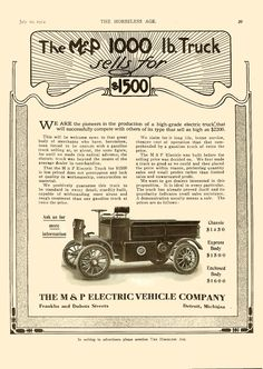 """1912 M & P 1000 lb Truck sells for $1500  The M & P Electric Vehicle Company  Detroit, Michigan  The Horseless Age magazine Vol. 30, No. 2  July 10, 1912, Page 39, 9""""x12"""""""