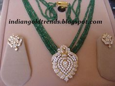 Latest Indian Gold and Diamond Jewellery Designs: Emerald Beads Necklace studded with CZS Pendant Indian Wedding Jewelry, Indian Jewelry, Bridal Jewelry, Bead Jewellery, Diamond Jewellery, Designer Jewellery, Designer Wear, Emerald Jewelry, Gold Jewelry