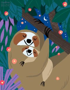 "Illustration done for the book ""Be More Sloth"". By Carolina Búzio Art Lessons For Kids, Art For Kids, Kid Art, Sloth Drawing, Cute Sloth, Cool Art Drawings, Animal Posters, Animal Books, Children's Book Illustration"