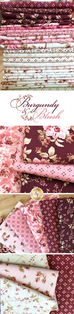 Burgundy & Blush is a romantic floral collection by Maywood Studio. This beautiful pink floral fabric adds a rosy touch to any project. Collection includes precuts, yardage and has been used in some kits. Fabric Panel Quilts, Patchwork Fabric, Red Fabric, Floral Fabric, Fabric Scraps, Quilting Fabric, Shabby Chic Fabric, Shabby Fabrics, Quilting Projects