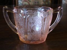 Pink Depression Cherry Blossom Glass Sugar Bowl