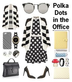 """Polka Dots in the Office"" by creation-gallery ❤ liked on Polyvore featuring Yumi, IRO, Mark/Giusti, Casetify, Mi-Pac, Topshop, Kate Spade, Grandin Road, Kristin Perry and Rina Limor"