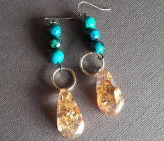 #Chrysocollaazurite resin earrings w/goldflakes- #jewelryart by TARTELAINEDesigns on #Etsy