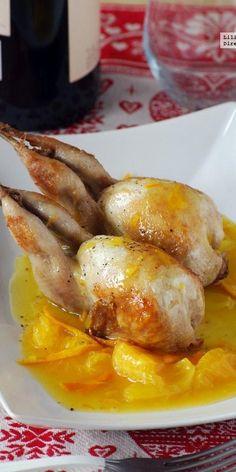 Codornices en salsa de mandarina y miel. Receta de Navidad