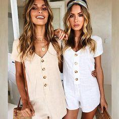 b9c8efd03d6 2018 Summer Vintage Playsuits Women Bodysuits Casual Short Sleeve Deep V  Neck Romper Ladies Fashion Body