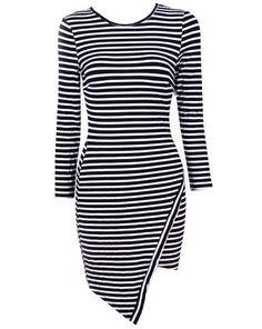 Stripe Simple Round Neck Long Sleeve Bodycon Striped Women's Dress   Nextmia