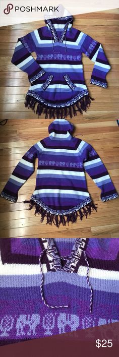 Handmade sweater from Chile Purple striped knit sweater from Chile (the country). Super soft and warm!  - Reasonable offers will be considered! Sweaters